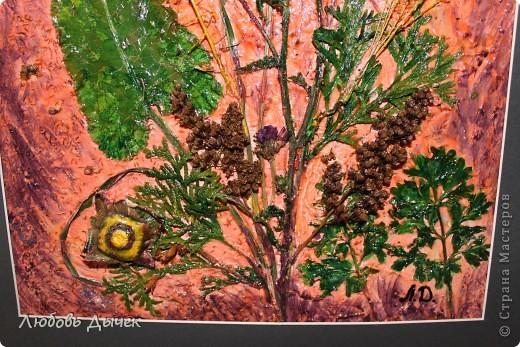 Основой для данной работы послужил обычный плотный упаковочный картон, шпатлевка на водной основе с добавлением клея ПВА, природный материал,акриловые краски.  фото 7