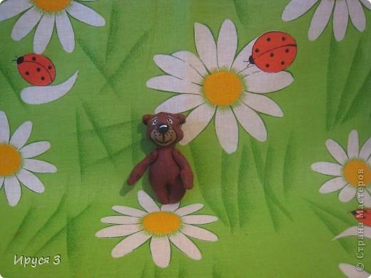 Мишутка ростом 7,5 см , сшит из льна -)))  фото 1