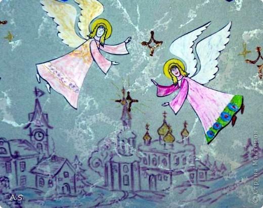 """Ангелы в небе высоком живут, Богу Всевышнему славу поют, К небу возносят молитвы людей, Сладкие грёзы детей. Господи мой, сердце открой, Дай мне услышать ангельский хор! Господи мой, сердце открой, Знаю, Ты Бог живой! Ангелов Бог посылает с небес Для возвещения Божьих чудес, Веру и радость приносят они, Вестники Божьей любви.  Ко дню Архистратига Михаила и всех небесных сил бесплотных (21 ноября) делали с ребятами в Воскресной школе такую коллективную работу. Раздавала детям рисунки Ангелов, они их раскрашивали-дорисовывали и наклеивали на """"набо"""". фото 3"""