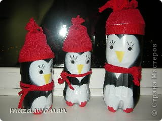 Олень, Тюлень и Пингвины из пластиковых бутылок фото 2