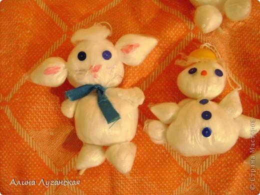 Детские снеговички и котики из полиэтилена-дёшево. Мини МК. фото 2