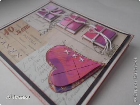 Открытку сделала для мужа. К нашей 10-й годовщине свадьбы. Если развязать все конвертики, то внутри можно прочитать надпись...   Эту идею я взяла у  http://iruuuha.blogspot.com/2011/01/blog-post_30.html, у нее там необычная валентинка. фото 3