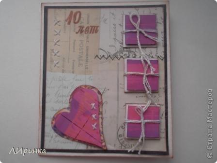 Открытку сделала для мужа. К нашей 10-й годовщине свадьбы. Если развязать все конвертики, то внутри можно прочитать надпись...   Эту идею я взяла у  http://iruuuha.blogspot.com/2011/01/blog-post_30.html, у нее там необычная валентинка. фото 1