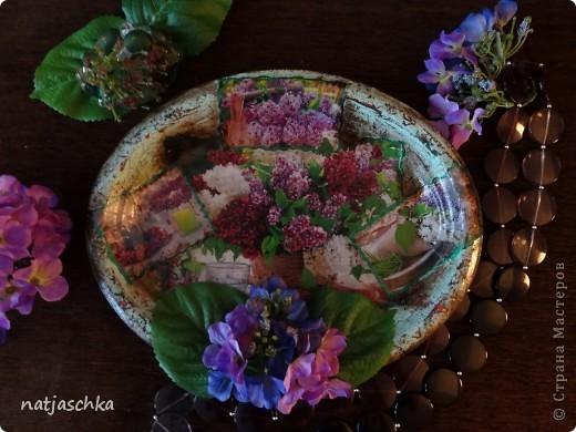 """Вот такое пано """"на скорую руку"""" получилось у меня,в подарок бабушке на кухню после ремонта,из подручных материалов-одноразовый поднос,журнальная вырезка,пластмассовые цветы. фото 1"""