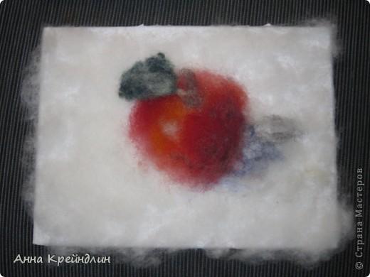 Яблоко из кардочеса. Аня делала с натуры. Общий размер 18Х21.   фото 2