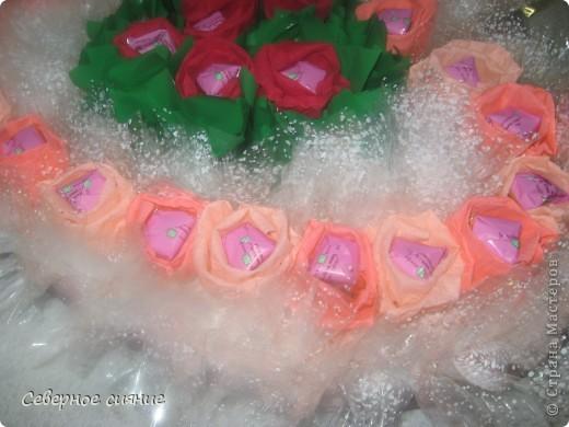 Сделали с детьми сладкое сердце в подарок на день рождения директору. Размер его 50 на 50 см., т.е. потолочная плитка. Толстого пенопласта у нас не было и мы склеили 8 потолочных плиток. фото 2