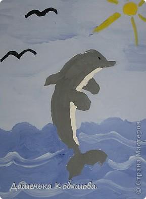 Эти рисунки рисовала в этом году на уроке рисования в школе. Получился вот такой дельфин. фото 1