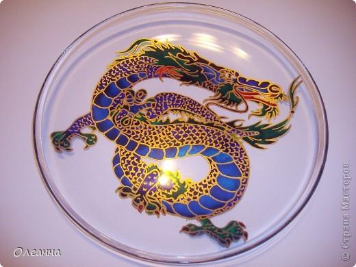 Скоро Новый год - год Дракона! Готовлю новогодние подарки - тарелки IKEA   с витражной росписью в виде  Драконов. фото 1