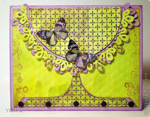 Сегодня хочу показать две новые работы, на которых фигурируют бабочки.  Открытки, как мне кажется, не совсем в моем стиле, но ведь хочется пробовать и осваивать новое... Обе делала по определенной цветовой палитре и с использованием скетчей.  фото 1
