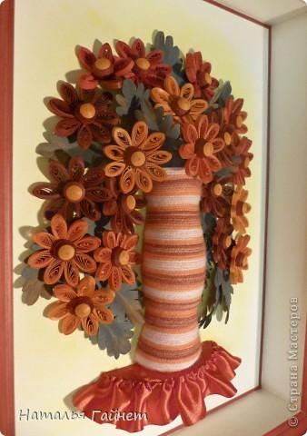 Букетик цветов.Скоро у мамы День рождения.Это первая  квиллинговая картина для нее.Хотелось что-то очень хорошее, приятное и душевное. фото 3
