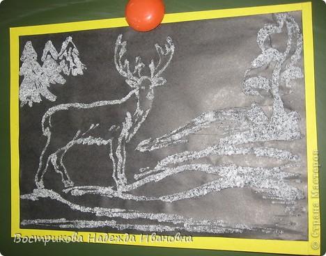 Рисование солью  сначала нужно сделать рисунок клеем ПВА на бумаге, затем засыпать всё солью, после высыхания стряхнуть лишнюю соль. фото 8