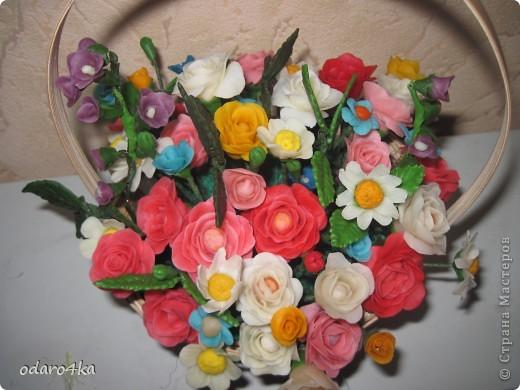Вот такая получилась корзинка с цветами. фото 2
