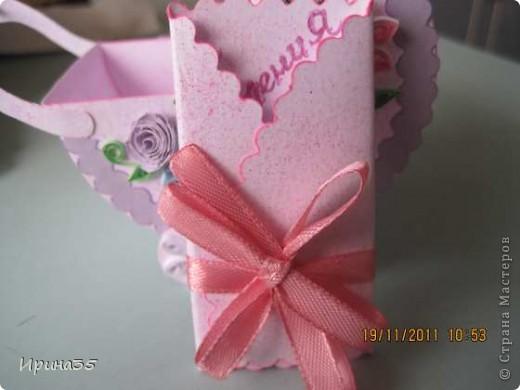 Моя кума, для которой я в свое время делала вот эту коробочку https://stranamasterov.ru/node/226310, в октябре родила девочку. Наша семья была приглашена на крестины Лизоньки. Хочу показать Вам наши подарки. фото 7