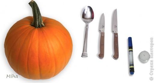 Инструменты: - «крепкая» столовая ложка, - пару наточенных ножей с лезвиями разной длины, - фломастер или маркер для нанесения рисунка для вырезания, - маленькая (невысокая) свечка фото 1