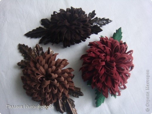 """Броши и заколки для волос. Натуральная замша , кожа. """" Хризантема"""". фото 1"""