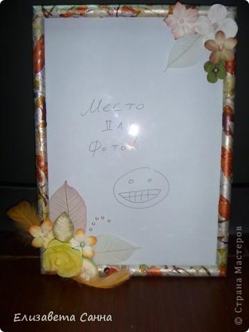 первый раз декорировала рамку для фото. еще и салфетками. очень понравилось...скоро появится еще одна работа выполненная в технике декупаж. фото 1