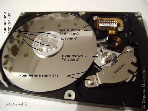 """Если у вас сломался жесткий диск и его не восстановить - то, как в анекдоте, можно из него получить пепельницу, зеркальце и магнитик:) На самом деле, получить можно НАМНОГО больше, и я вам сейчас расскажу, как это сделать и что там есть интересного. Если у вас нет неисправного жесткого диска (винчестера) - не расстраивайтесь, обратитесь к друзьям-компьютерщикам, прсото к друзьям, или в любой сервисный центр компьютерной техники, у них точно должны быть такие экземпляры (обычно в мастерских мужчинам лень выбрасывать старый хлам). Чем """"старше"""" диск, тем лучше: раньше материала и всяких штучек не жалели. фото 10"""