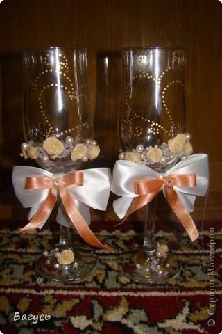 Свадебные бокалы и свечи фото 1