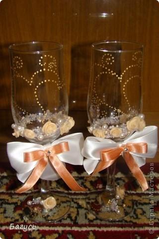 Свадебные бокалы и свечи фото 3