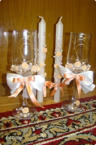 Свадебные бокалы и свечи фото 6