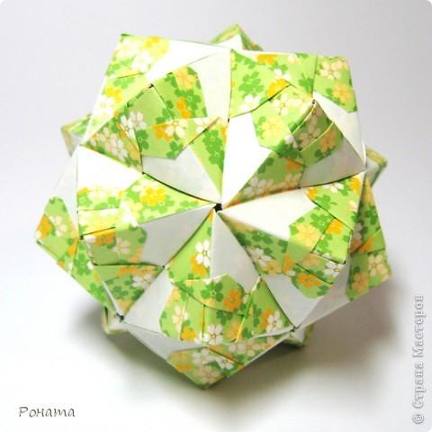 Привет Страна! Сонобы не отпускают меня)) Вот такие вариации <strong>Floral sonobe</strong> накрутились:  Name: <strong>Kaleidoscope</strong> Designer: Natalia Romanenko Units: 30 Paper: 7.5*7.5 cm Final height: ~ 7 cm Assembled without glue  фото 3
