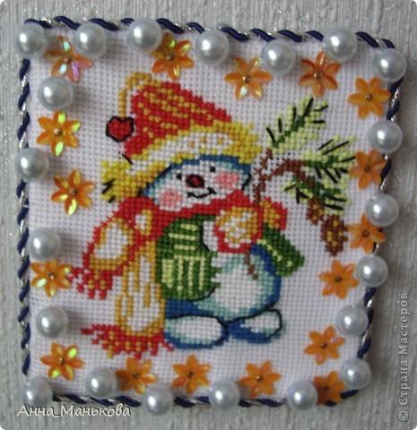 Весёлый снеговик + схема фото 1