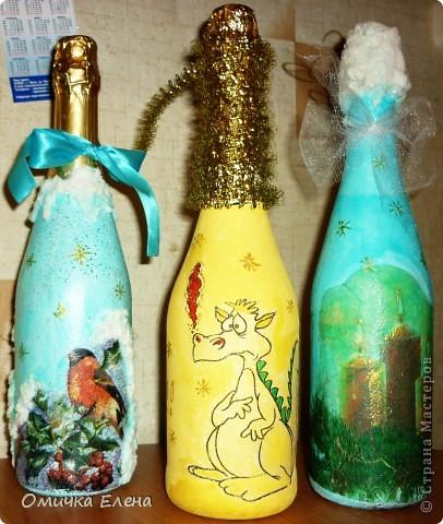 Новогоднее настроение продолжается......а теперь бутылочки. фото 1