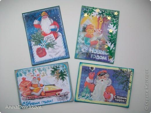 """Добрый день дорогие! Представляю вашему вниманию новую серию АТС """"Новогодние открытки"""".  Нашла у себя в компютере открытки из детства и захотелось мне сделать серию с этими открытками. Распечатала штук 20 картинок, но выбрала только 8 . Первые 4 - с БАМовской темой, поскольку я живу в бывшей столице БАМа. Если вы внимательно посмотрите на открыточку то увидите, что на всех этих открыточках есть слово БАМ и Тында.   фото 1"""