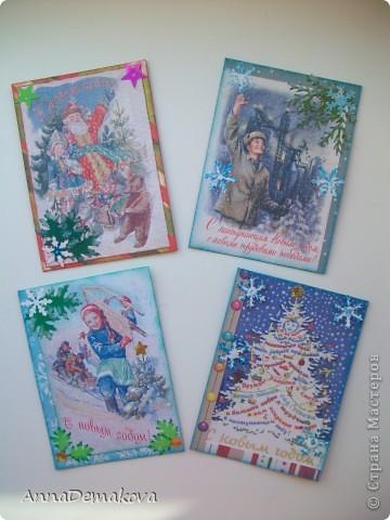 """Добрый день дорогие! Представляю вашему вниманию новую серию АТС """"Новогодние открытки"""".  Нашла у себя в компютере открытки из детства и захотелось мне сделать серию с этими открытками. Распечатала штук 20 картинок, но выбрала только 8 . Первые 4 - с БАМовской темой, поскольку я живу в бывшей столице БАМа. Если вы внимательно посмотрите на открыточку то увидите, что на всех этих открыточках есть слово БАМ и Тында.   фото 6"""
