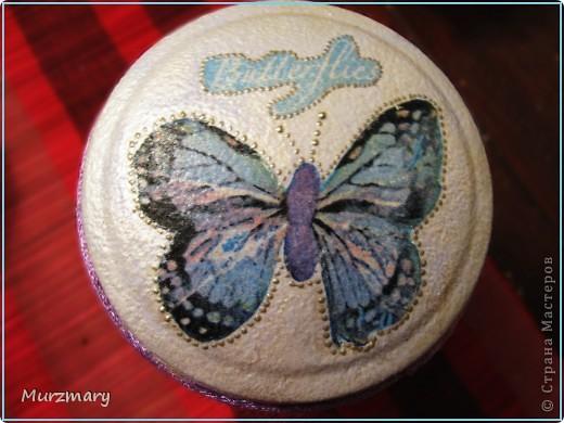 Бабочки вдохновили меня на такую вот баночку для чая: фото 2