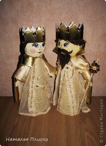 """Эта царская семья - очередной """"госзаказ"""" из детского сада. Воспитательница попросила сделать для занятий короля с королевой, а у меня получились царь с царевной...  фото 2"""