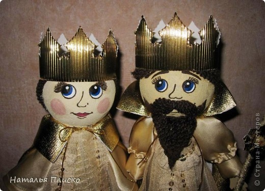 """Эта царская семья - очередной """"госзаказ"""" из детского сада. Воспитательница попросила сделать для занятий короля с королевой, а у меня получились царь с царевной...  фото 6"""