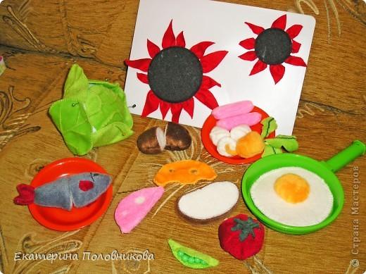 Сшила дочке продукты для игры. Картошку и рыбу можно разрезать на две части, они держатся на липучке. фото 2