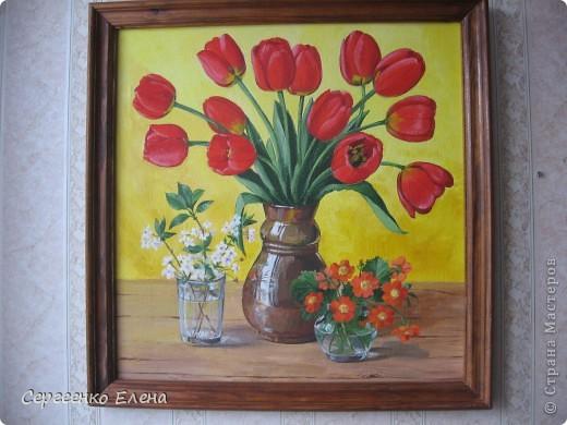 """Посмотрите на мои летние цветы. Написаны маслом. Рисовала в отпуск года три назад. """"Напало"""" на меня вдохновение, никак не смогла от него отбиться... Перерисовала все цветы на даче, потом у соседей... и так до тех пор, пока отпуск не кончился и не увезли меня с дачи!  """"Полевые ромашки и цикорий"""" На мой взгляд немного тяжеловата ваза, но когда рисовала другой под рукой не было. фото 4"""
