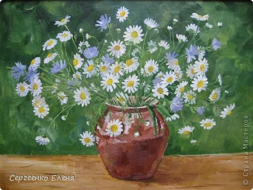 """Посмотрите на мои летние цветы. Написаны маслом. Рисовала в отпуск года три назад. """"Напало"""" на меня вдохновение, никак не смогла от него отбиться... Перерисовала все цветы на даче, потом у соседей... и так до тех пор, пока отпуск не кончился и не увезли меня с дачи!  """"Полевые ромашки и цикорий"""" На мой взгляд немного тяжеловата ваза, но когда рисовала другой под рукой не было. фото 1"""