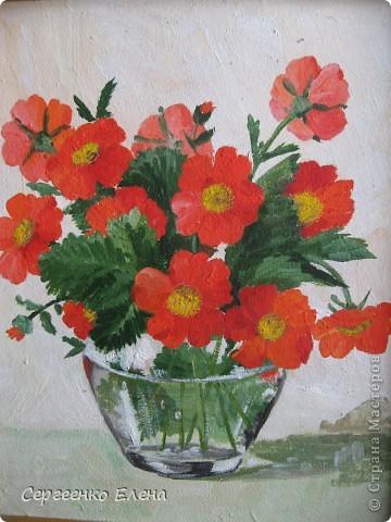 """Посмотрите на мои летние цветы. Написаны маслом. Рисовала в отпуск года три назад. """"Напало"""" на меня вдохновение, никак не смогла от него отбиться... Перерисовала все цветы на даче, потом у соседей... и так до тех пор, пока отпуск не кончился и не увезли меня с дачи!  """"Полевые ромашки и цикорий"""" На мой взгляд немного тяжеловата ваза, но когда рисовала другой под рукой не было. фото 2"""