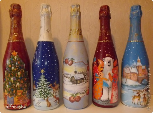 Бутылки, салфеточки, краски, стикеры... фото 1