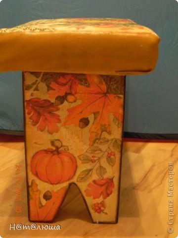 Добралась потихонечку я до мебели. Начинаю с малых форм - скамеечки задекупажила своими любимыми тыковками. Одна с мягкой сидушкой (переживала, что лак потрескается, пока все нормально), другая с твердой. фото 4