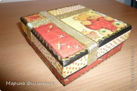 Маленькая коробочка  для себя любимой)))) Выполнена в технике декупаж, украшена тесьмой.  фото 2
