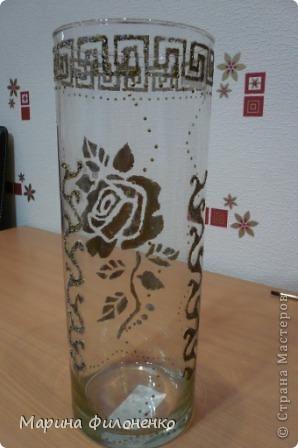 Мастерицы, вот решила из обычной стеклянной вазы сделать необычную. А делалась она за один вечер в подарок на годовщину свадьбы, у них катастрофически не хватало в доме ваз)))) фото 3