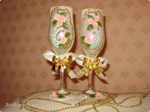 мои первые свадебные фужеры. вроде ничего,как вы думаете? фото 1