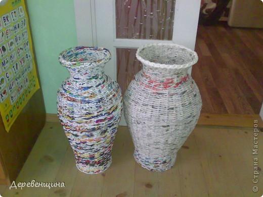 Газетные трубочки плетение мастер класс ваза напольная