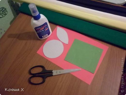 Материалы для работы: гофрированная бумага желтого, белого, зеленого и черного цвета, клей ПВА, ножницы, двусторонняя зеленая бумага, шаблоны для серединки подсолнуха и листа, картон  фото 1