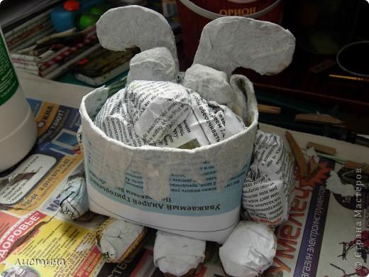 Пёс-барбос.Сайт источник не помню.  Основные материалы :  газета(или любая бумага)  клей ПВА  картон  краски(я брала акварель,но она мажется,потом покрыла лаком) фото 2