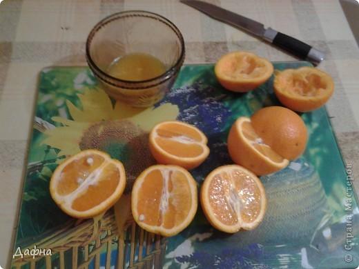 Недавно я заинтересовалась японской кухней и на одном сайте наткнулась на интересный рецепт. можно использовать как апельсины, так и мандарины.         Апельсин — 2 шт     Мандарин — 2 шт     Желатин (два пакета) — 20 г     Вода — 0,5 стак.     Сахар-песок — 4 ч. л. фото 2