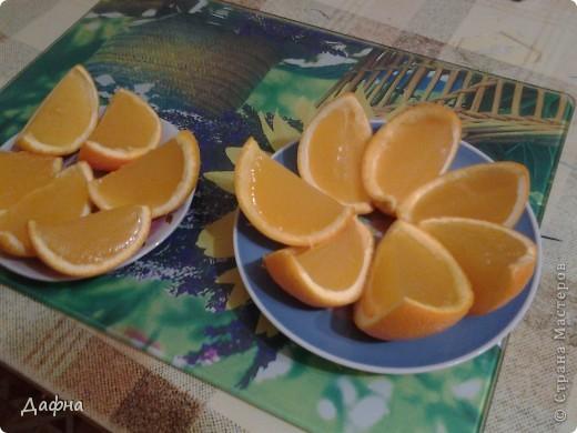 Недавно я заинтересовалась японской кухней и на одном сайте наткнулась на интересный рецепт. можно использовать как апельсины, так и мандарины.         Апельсин — 2 шт     Мандарин — 2 шт     Желатин (два пакета) — 20 г     Вода — 0,5 стак.     Сахар-песок — 4 ч. л. фото 7