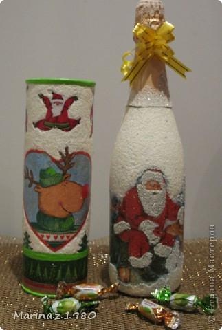 """Может кого и удивит название """"Набор"""", но набор он не по рисункам, а по технике. Сначала сделала детям новогоднюю конфетницу. А потом заказали сделать бутылку (отредактировано помощником). А когда все доделала, посмотрела и подумала: """"А почему не сделать набором?""""  фото 1"""