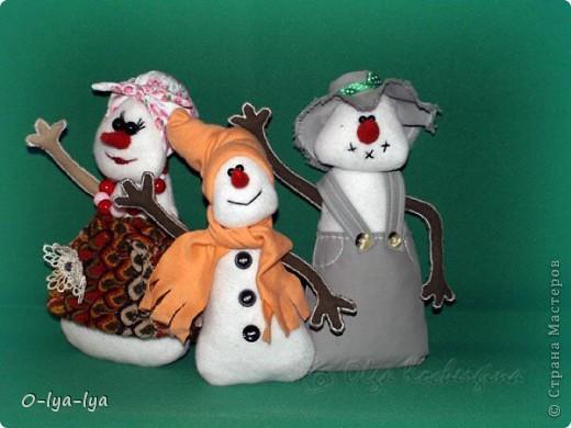 Веселая снежная семейка Мама, папа и сынок фото 1