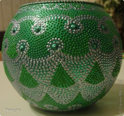 Вазочка в контурной росписи. Серый контур Декола, зеленый таировский, (называется, почувствуй разницу), рисунок из головы фото 1