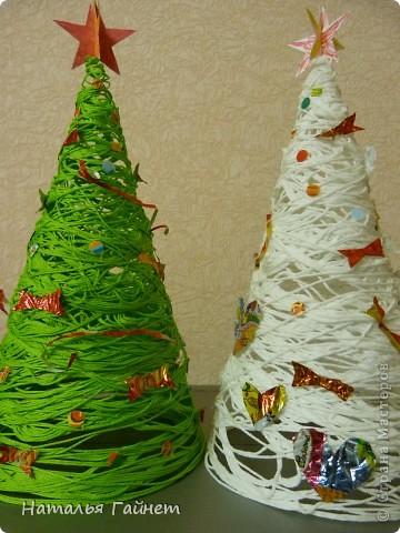 Новогодняя елка из пряжи своими руками